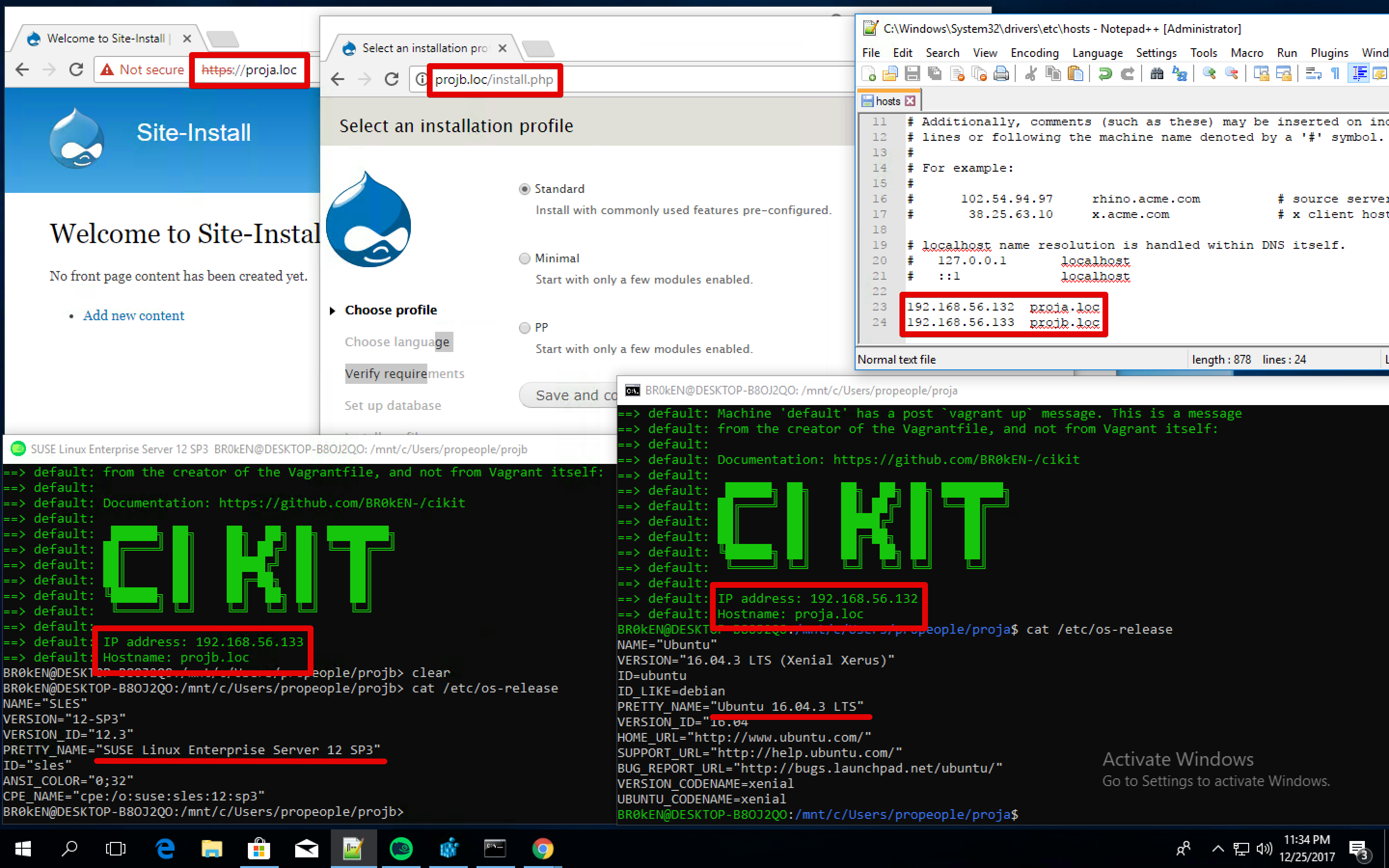 CIKit VM on openSUSE and Ubuntu, running simultaneously
