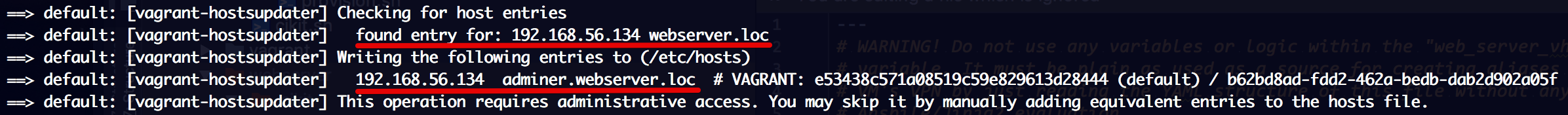 Vagrant hosts manager adds needed entries to hosts